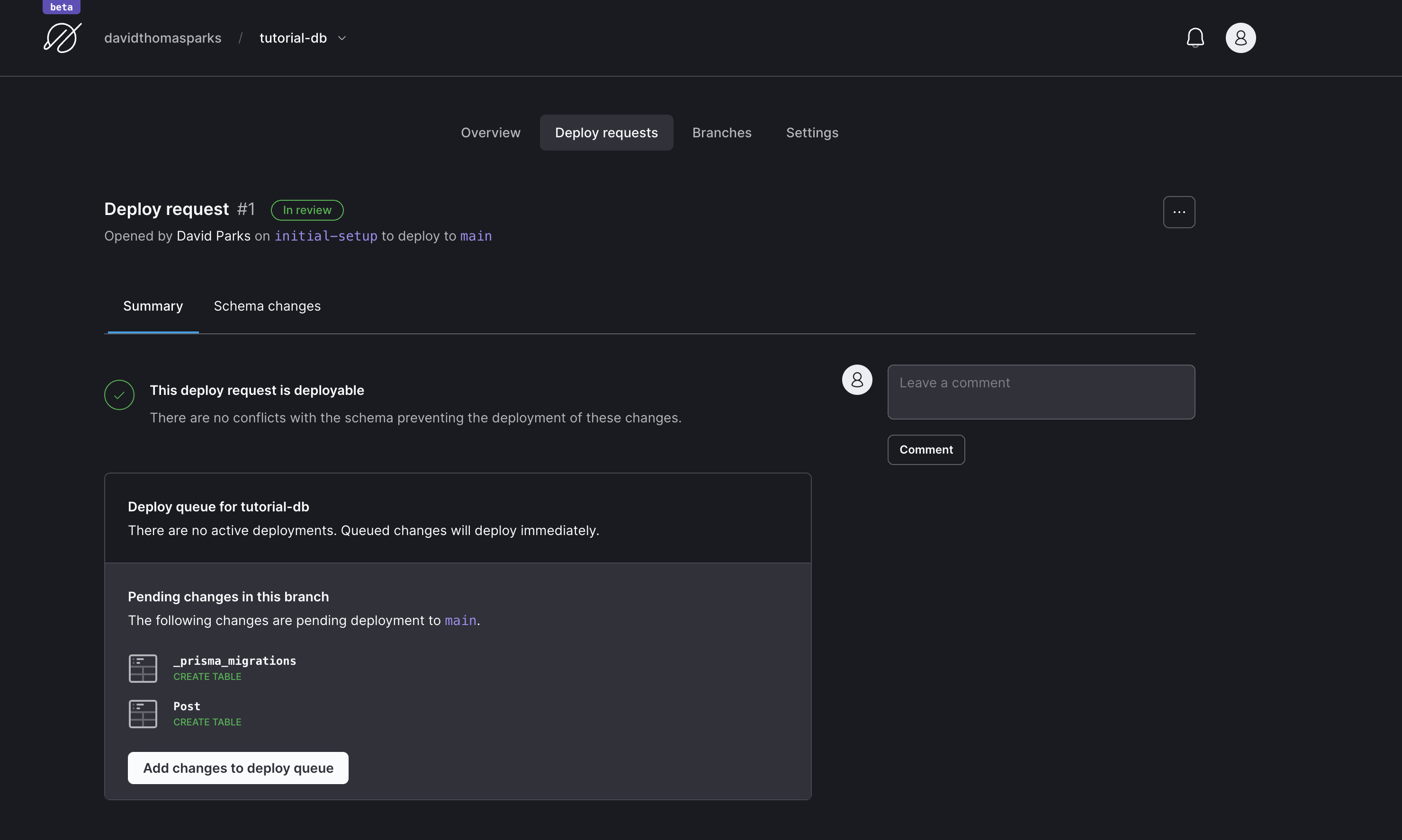 Screenshot showing an open deploy request on PlanetScale